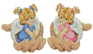 Cross stitch pattern in PDF file with little angels in the hands of God