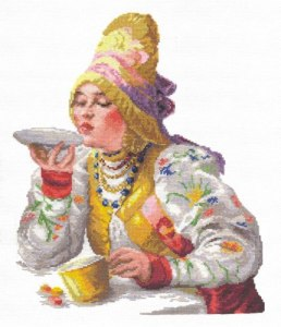 Cross stitch pattern FREE download in PDF file with Russian woman