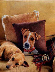 Cross stitch pattern FREE download in PDF file with cushion dog face