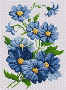 Cross stitch pattern FREE download in PDF file with blue flowers