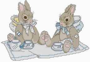 Cross stitch pattern FREE download in PDF file with little rabbits at tea time