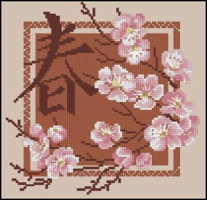Cross stitch pattern FREE download in PDF file with japanese flowers