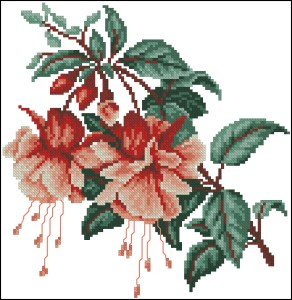 Cross stitch pattern FREE download in PDF file with fucsia