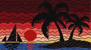 Cross stitch pattern FREE download in PDF file with caribean landscape