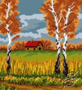 Cross stitch pattern FREE download in PDF file with autumn trees