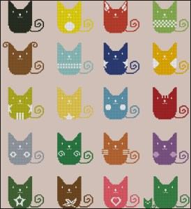 Cross stitch pattern FREE download in PDF file with coloured cats