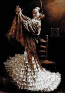 Cross stitch pattern for download in PDF file with flamenco dancer