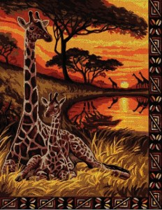 Cross stitch pattern to download in PDF file with african giraffes