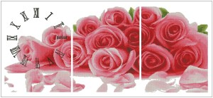 Cross stitch pattern for download in PDF file with roses clock