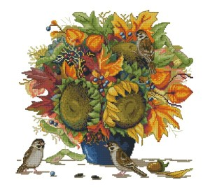 Cross stitch pattern for download in PDF file with sunflowers and birds