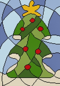 Cross stitch pattern FREE download in PDF file with Christmas tree