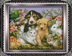 Cross stitch pattern FREE download in PDF file with puppies
