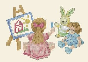Cross stitch patterns FREE download in PDF file with school of toys