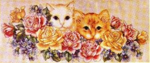 Cross stitch pattern with FREE download instantly in PDF file, to embroider several cats
