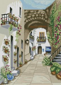 Cross stitch pattern download in PDF file with Andalusian houses