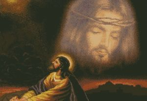Cross stitch to download in PDF file with Apostle praying to Jesus