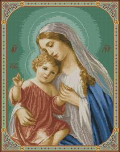 Cross stitch pattern download in PDF file with the Virgin Mary and the Child Jesus