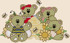 Cross stitch pattern with FREE download instantly in PDF file, to embroider some teddy bears and honey