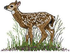 Cross stitch pattern with FREE download instantly in PDF file, to embroider a fawn surrounded by grass