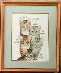 Cross stitch pattern with FREE download instantly in PDF file, to embroider five cats