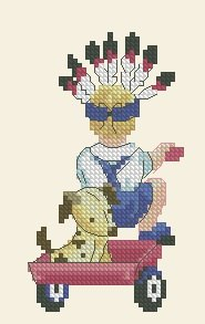 Cross stitch pattern with FREE download instantly in PDF file, to embroider a child playing