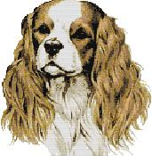 Cross stitch pattern with FREE download instantly in PDF file, to embroider a Spaniel dog