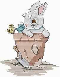 Cross stitch pattern with FREE download instantly in PDF file, to embroider a rabbit in spring