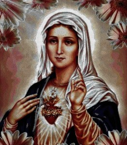 Cross stitch pattern with download instantly in PDF file, to embroider the Sacred Heart of Mary