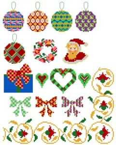 Cross stitch pattern with FREE download instantly in PDF file, to embroider some Christmas motifs