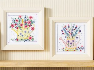 Cross stitch pattern with FREE download instantly in PDF file, to embroider two watering cans