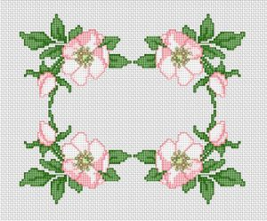 Cross stitch pattern with FREE download instantly in PDF file, to embroider wild rose border