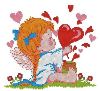 Cross stitch pattern FREE download instantly in a PDF file, to embroider a valentine's angel