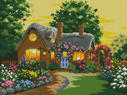 Cross stitch pattern FREE download instantly in a PDF file, to embroider a house with garden
