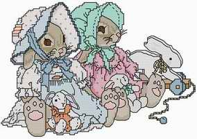 Cross stitch pattern FREE download instantly in a PDF file, to embroider some rabbits teddies