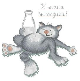 Cross stitch pattern with FREE download instantly in PDF file, to embroider a cat drinking milk