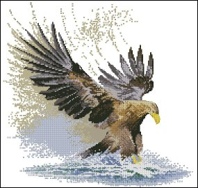 Cross stitch pattern with FREE download instantly in PDF file, to embroider an eagle in flight