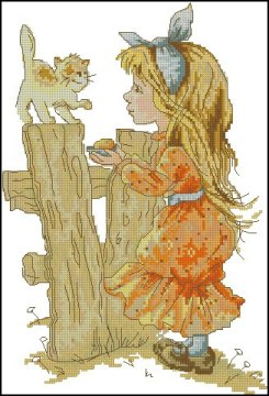Cross stitch pattern with FREE download instantly in PDF file, to embroider a girl with a kitten