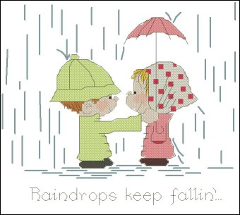 Cross stitch pattern with FREE download instantly in PDF file, to embroider children under the rain