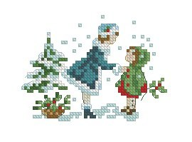 Cross stitch pattern with FREE download instantly in PDF file, to embroider children at Christmas