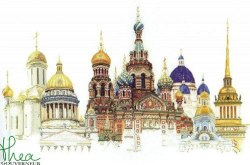 Cross stitch pattern with FREE download instantly in PDF file, to embroider monuments of St. Petersburg