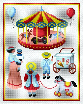 Cross stitch pattern to FREE download instantly in PDF file, with a children's carousel