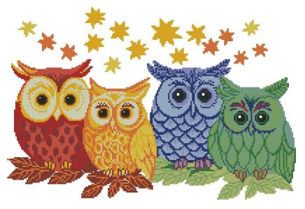 Cross stitch pattern to FREE download instantly in PDF file, with colorful owls