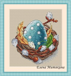 Cross stitch pattern to FREE download instantly in PDF file, with egg in nest