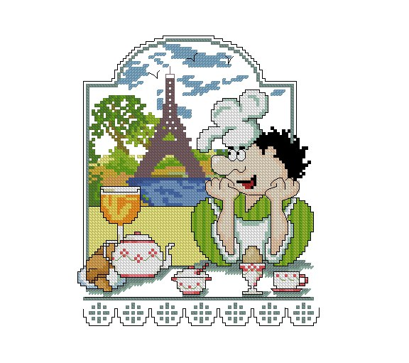 Cross stitch pattern to FREE download instantly in PDF file, with Paris cook