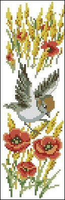Cross stitch pattern to FREE download instantly in PDF file, with bird in summer