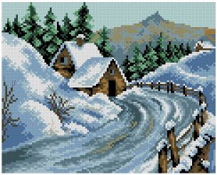 Cross stitch pattern to FREE download instantly in PDF file, with a snowy landscape