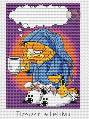 Cross stitch pattern to FREE download instantly in PDF file, with Garfield cat