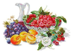 Cross stitch pattern to FREE download instantly in PDF file, with still life of fruits