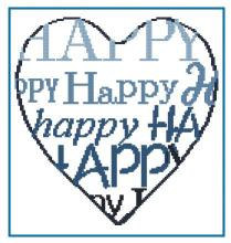 Cross stitch pattern to FREE download instantly in PDF file, with happy heart