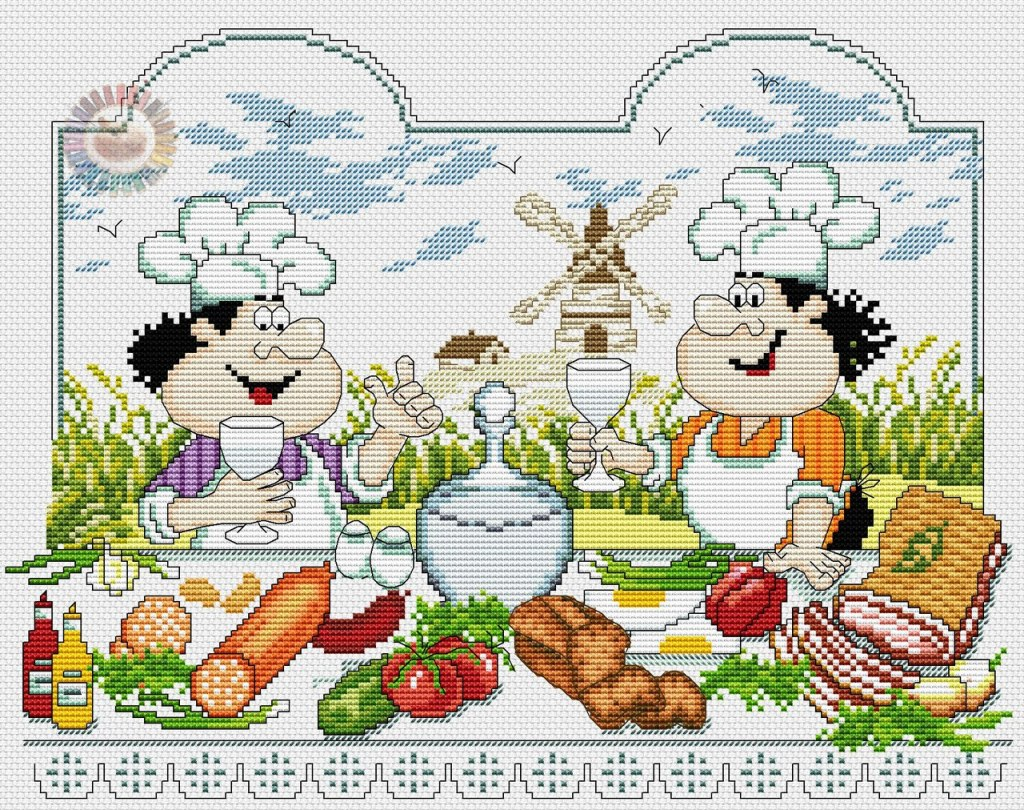 Cross stitch pattern to FREE download instantly in PDF file, with chefs